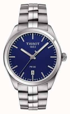 Tissot Heren pr100 roestvrijstalen armband blauwe wijzerplaat T1014101104100