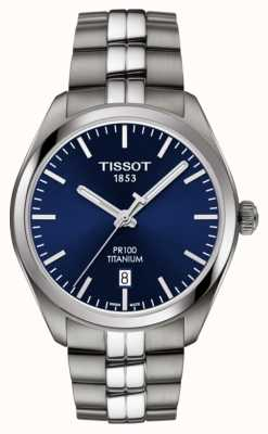 Tissot Heren pr100 titanium blauwe wijzerplaat quartz T1014104404100