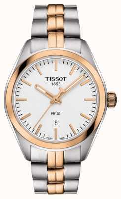 Tissot Pre100 tweekleurige pvd vergulde datum voor vrouwen T1012102203101