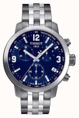 Tissot Mens prc 200 chronograaf blauwe wijzerplaat tweekleurig T0554171104700