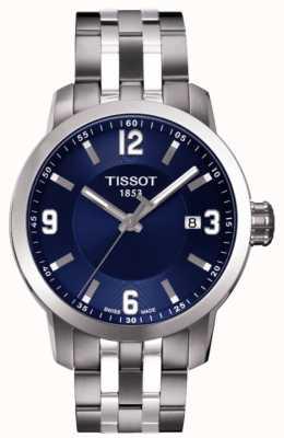 Tissot Mens prc 200 blauwe wijzerplaat chronograaf two tone armband T0554101104700