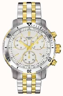Tissot Heren prs 200 tweekleurige chronograaf vergulde armband T0674172203101