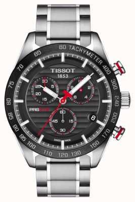 Tissot Mens prs 516 chronograaf zwarte wijzerplaat roestvrij stalen armband T1004171105101