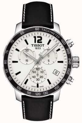 Tissot Heren quickster chronograaf witte wijzerplaat lederen band T0954171603700