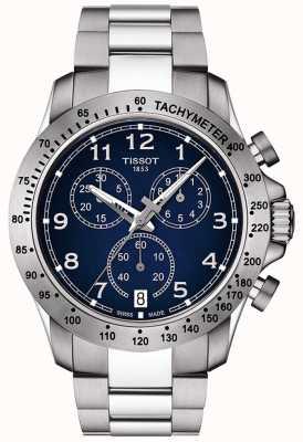 Tissot Mens v8 quartz chronograaf blauwe wijzerplaat roestvrij staal T1064171104200