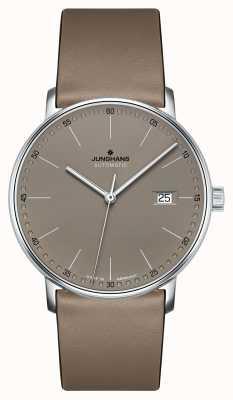 Junghans Vorm een automatisch bruin lederen bandhorloge 027/4832.00