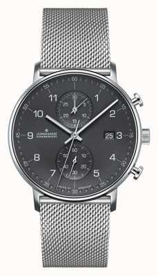Junghans Mens vorm c chronoscoop zilveren gaasband 041/4877.44