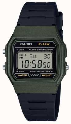Casio Alarm chronograaf groene en zwarte kast F-91WM-3AEF
