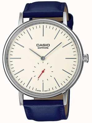 Casio Saffierglas creme wijzerplaat blauw lederen band LTP-E148L-7AEF