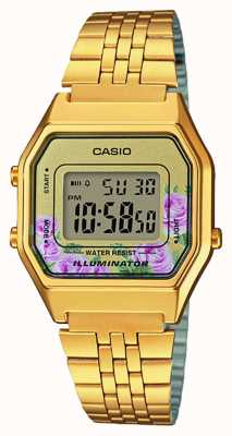 Casio Illuminator gold pvd plated bloemenprint wijzerplaat LA680WEGA-4CEF