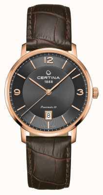 Certina Ds caimano powermatic 80 bruine lederen band grijze wijzerplaat C0354073608700