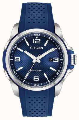 Citizen Ar blauwe datum-display edelstaal kast AW1158-05L