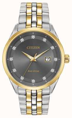 Citizen Corso heren diamanten set grijze wijzerplaat tweekleurige armband BM7258-54H