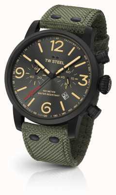 TW Steel Maverick caliber chronograaf groene canvas riem zwarte wijzerplaat MS124