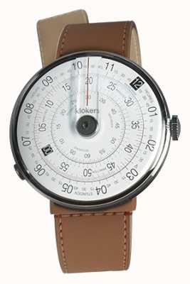 Klokers Klok 01 zwarte horloge kop karamel bruin zeestraat enkele riem KLOK-01-D2+KLINK-04-LC12