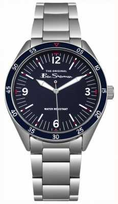 Ben Sherman Marineblauwe wijzerplaat, zilveren roestvrijstalen kast en armband BS007USM