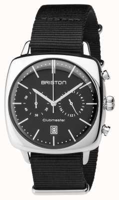 Briston Heren clubmeester vintage stalen chronograaf zwart textiel 17140.PS.V.1.NB