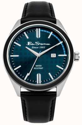 Ben Sherman Donkerblauwe wijzerplaat datumweergave zwarte lederen band BS004UB