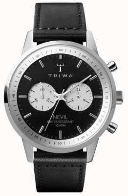 Triwa Slate nevil chronograaf zwarte wijzerplaat zwarte leren riem NEST118-SC010112