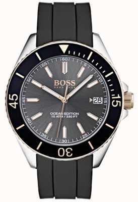 Hugo Boss Ocean edition grijze wijzerplaat datumweergave zwarte rubberen band 1513558