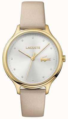 Lacoste Dames constance crystal set zilveren wijzerplaat gouden kast 2001007