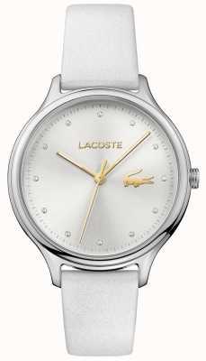 Lacoste Dames constance crystal set zilverkleurige wijzerplaat lederen band 2001005