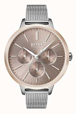 Hugo Boss Zwarte symphony day & date display rosé gouden horlogeband 1502423
