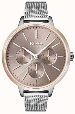 Boss Zwarte symphony day & date display rosé gouden kast met horlogekoord 1502423
