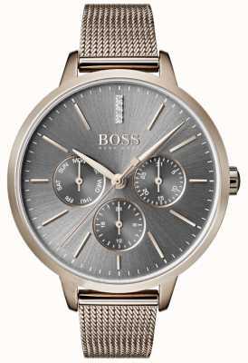 Hugo Boss Symphony grijze wijzerplaat voor dag en datum mesh 1502424