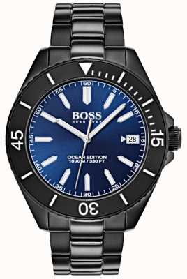 Boss Ocean edition blauwe wijzerplaat datumweergave zwarte ip-armband 1513559