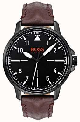 Hugo Boss Orange Zwarte wijzerplaat donkerbruine lederen riem zwarte ip gecoate behuizing 1550062