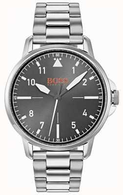 Hugo Boss Orange Zwarte wijzerplaat zilveren roestvrijstalen armband 1550064