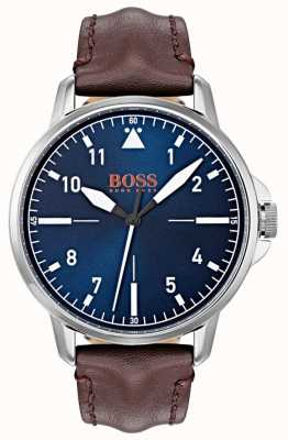 Hugo Boss Orange Blauwe wijzerplaat witte markeringen donkerbruin lederen band 1550060