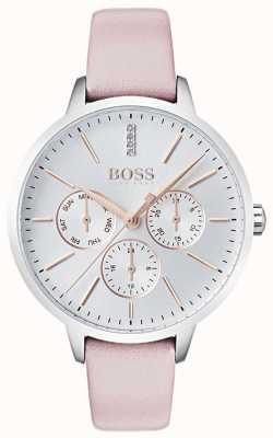 Hugo Boss Zilveren wijzerplaat dag en datum sub wijzerplaat kristal gezet roze leer 1502419
