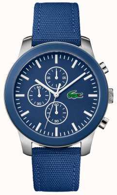 Lacoste Heren 12.12 chronograaf blauwe wijzerplaat blauwe nylon band 2010945