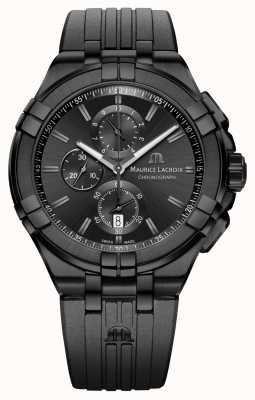 Maurice Lacroix Aikon quartz chronograph zwart pvd AI1018-PVB01-333-1