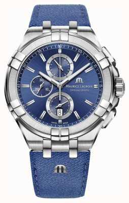 Maurice Lacroix Heren aikon denim-look riem chrono datum AI1018-SS001-431-1