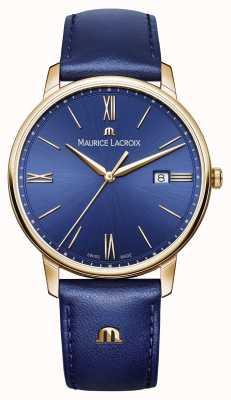Maurice Lacroix Heren eliros vergulde case blauwe wijzerplaat lederen band EL1118-PVP01-411-1