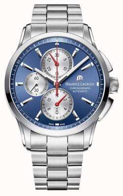 Maurice Lacroix Heren pontos chronograaf roestvrij staal blauwe wijzerplaat PT6388-SS002-430-1