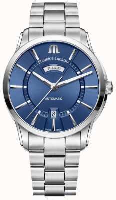 Maurice Lacroix Heren pontos blauwe wijzerplaat roestvrij stalen armband PT6358-SS002-430-1