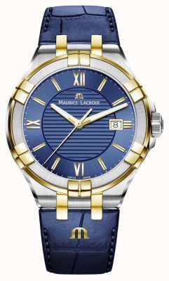 Maurice Lacroix Mens aikon blauw en goud two tone lederen band AI1008-PVY11-432-1