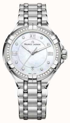 Maurice Lacroix Dames aikon parelmoer wijzerplaat roestvrij stalen armband AI1006-SD502-170-1