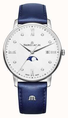 Maurice Lacroix Eliros maanfaser blauwe lederen band zilveren wijzerplaat EL1096-SS001-150-1