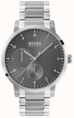 Hugo Boss Mens zuurstof grijs horloge roestvrij staal armband sunray wijzerplaat 1513596