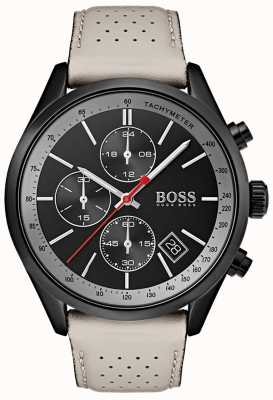 Hugo Boss Heren Grand Prix horloge zwarte chronograaf grijze lederen band 1513562