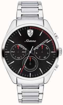 Scuderia Ferrari Heren abetone roestvrij stalen armband horloge zwart chronograaf 0830505
