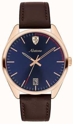 Scuderia Ferrari Heren abetone bruin lederen band horloge blauwe wijzerplaat 0830500