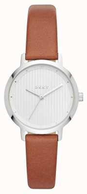 DKNY Womens de modernistische horloge bruin lederen band NY2676