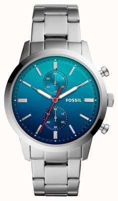 Fossil Herenhorloge herenhorloge blauw ombre wijzerplaat roestvrij stalen armband FS5434