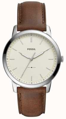 Fossil Mens het minimalistische bruine leerriemhorloge FS5439